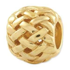 Sterling Silver Gold plated Reflections Basketweave Bali Bead Jewelry