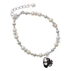 Black Enamel Tap Shoes Czech Pearl Beaded Charm Bracelet