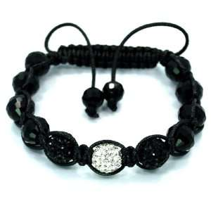 High Quality Black & White Swarovski Crystal Bead Adjustable Shamballa
