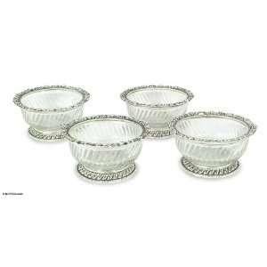 Aluminum and glass bowls, Antique Lace (set of 4