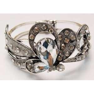 Inspired Silver tone Crystal Rhinestone Butterfly Bracelet Bangle Cuff