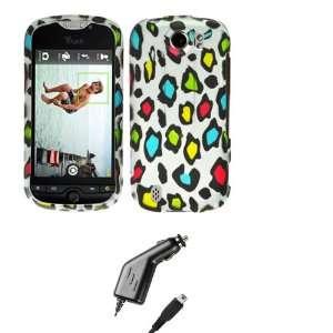 com Rainbow Leopard Design Faceplate Hard Case Cover + Micro USB Car