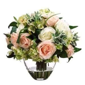 Cream Rose and Hydrangea Faux Flower Arrangement
