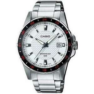 Silver Stainless Steel Quartz Watch with White Dial Casio Watches