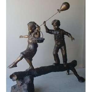 Bronze Statue of 2 Children Walking on a Log Sports