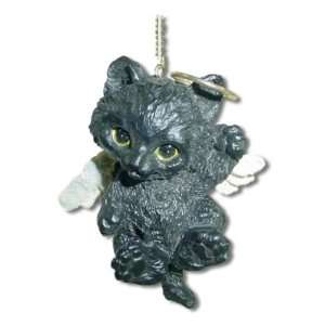 Black Kitten Kitty Cat Angel Christmas Ornament
