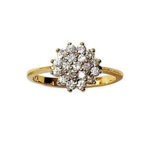 Gold Plated 11 mm Wide Cubic Zirconia Flower Cluster Engagement Ring