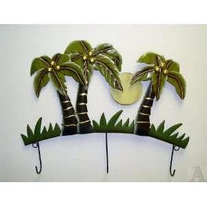 Tropical Palm Tree Beach Wall Metal Tin Art Coat , Hat or Key Hooks