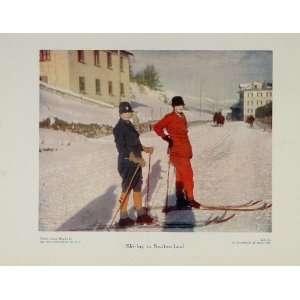1929 Women Skiing Switzerland Cross Country Color Print