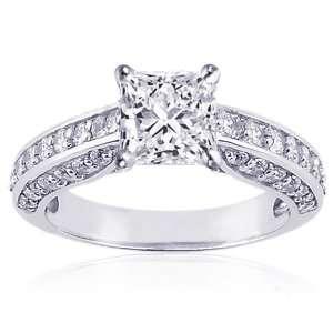 75 Ct Princess Cut Diamond Engagement Ring Pave SI1 GIA COLOR E CUT