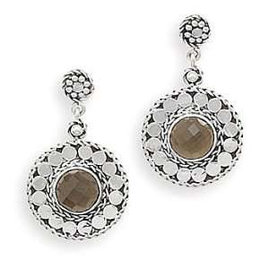 Post Earrings with Faceted Smoky Quartz 925 Sterling Silver Jewelry
