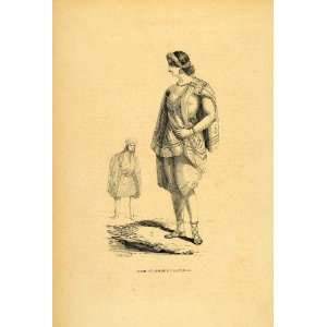 Ethnic Dress Woman Man Guatemala   Original Engraving