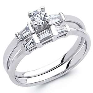 14K White Gold Round cut Diamond Matching Wedding Engagement Ring