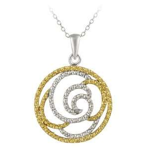 Silver Diamond Accented Floral Circle Pendant Necklace 18 Jewelry