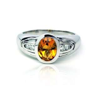 Diamond and Citrine Oval Shape Ring White Solid Gold 10