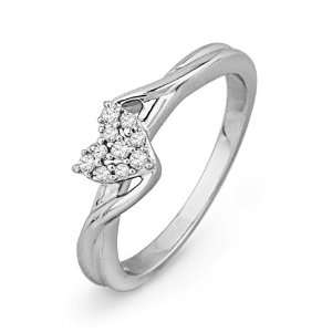 Sterling Silver Round Diamond Heart Ring (1/10 cttw) D GOLD Jewelry
