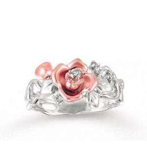 14k Two Tone Gold Diamond Flower Ring Jewelry