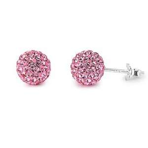 Sterling Silver Pink Disco Ball CZ Earrings Jewelry