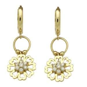 Earrings CZ Heart Cluster Huggie Hoop Yellow Gold Earrings Jewelry
