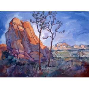 Joshua Tree Granite Rock Desert Landscape Oil Painting Art