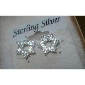 925 Sterling Silver Star Shape Earrings 10mm w/ CZ