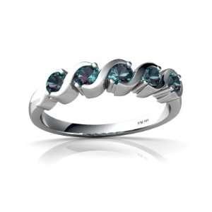 14K White Gold Round Created Alexandrite Ring Size 4 Jewelry