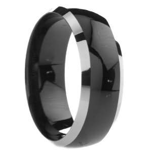 mm Mens Black Tungsten Carbide Rings Wedding Bands Two Tone Polished