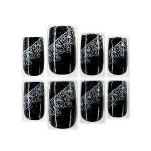 & White Lace w/ Glitter Glue/Stick/Press On Artificial/False Nails