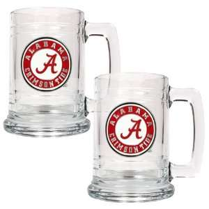 Alabama Crimson Tide NCAA 2pc 15oz Glass Tankard Set