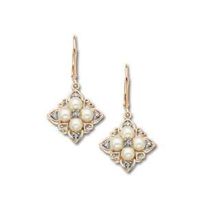 Freshwater Pearl Earrings in 10K Pink Gold with Diamonds Jewelry