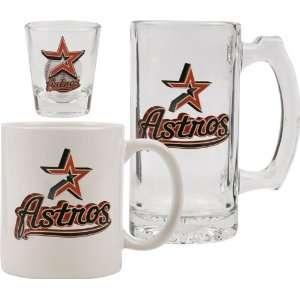 Houston Astros Glassware Set 3D Logo Tankard, Coffee Mug, Shot Glass