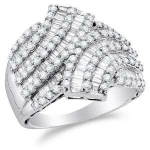 Size 10   14K White Gold Large Diamond Cross Over Wedding