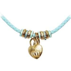 Tutti Frutti Aqua Leather Crown Heart Locket Necklace Jewelry