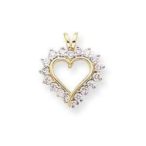 Diamond Heart Pendant in 14k Yellow Gold Jewelry