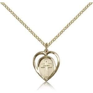 Gold Filled Heart / Cross Medal Pendant 5/8 x 1/2 Inches