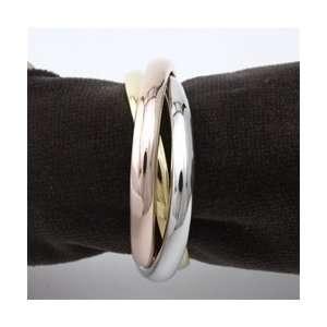 Objet Tricolor Napkin Rings Gold, Rose Gold and Platinum Plated Set