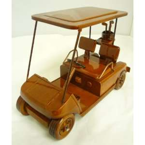 Mahogany Wooden Display Model Golf Cart with Bag Replica