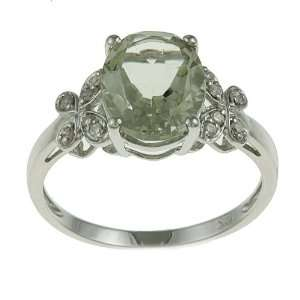 10k White Gold Oval Green Amethyst and Diamond Ring (1/10 TDW)   size