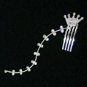 Mini Crystal Crown Hair Comb w. Dangling Strand