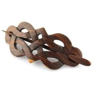 Wood Celtic Princess Crest Hair Pin Barrette