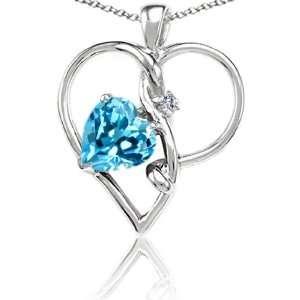 Heart Shape Blue Topaz and Diamond Heart Shape Pendant(MetalWhite