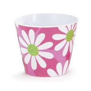 Pink w/ Big White Daisies Melamine Pot Cover Patio, Lawn & Garden