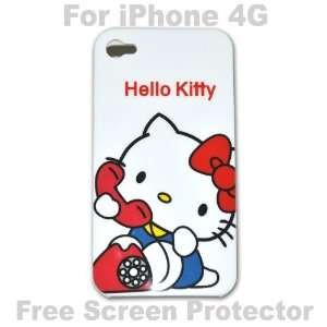 Hello Kitty Case Hard Case Cover for Iphone 4g   B + Free