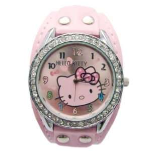 Hello Kitty Pink Face Crystal Watch with Pink Band + Hello Kitty Pouch