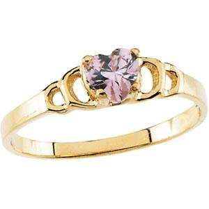 Pink CZ Heart Ring in 14k Yellow Gold Jewelry