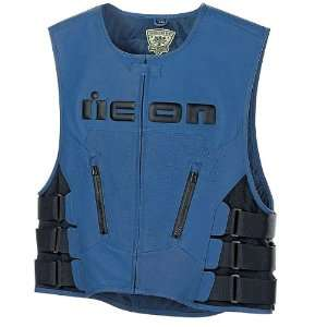Icon Regulator Mens Leather On Road Motorcycle Vest   Blue / Large/X