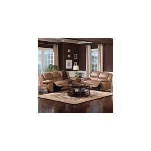 Edwin Double Reclining 2 Piece Sofa Set in Taupe Leather by Coaster