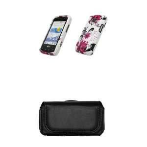 com LG Ally VS740 Premium White with Purple Flowers Design Case Cover