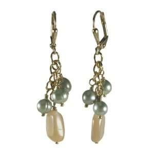 Cluster Drop Yellow Gold Plate Dangle Earrings AzureBella Jewelry