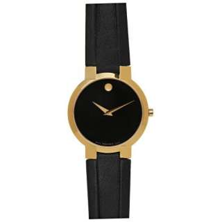 Movado Mens 605042 Faceto Gold Plated Leather Strap Watch Movado